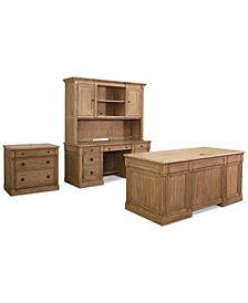 CLOSEOUT! Sherborne Home Office Furniture, 4-Pc. Set (Executive Desk, Credenza Desk, Hutch & File Cabinet)