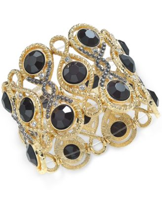 Image of INC International Concepts Stone and Crystal Filigree Stretch Bracelet, Created for Macy's