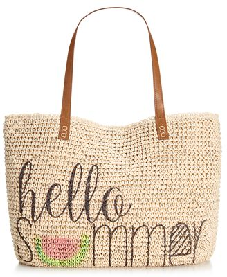 Style & Co. Summer Straw Beach Bag, Only at Macy's - Handbags ...