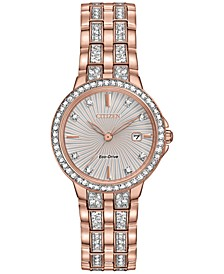 Women's Eco-Drive Crystal Accent Rose Gold-Tone Stainless Steel Bracelet Watch 28mm EW2348-56A
