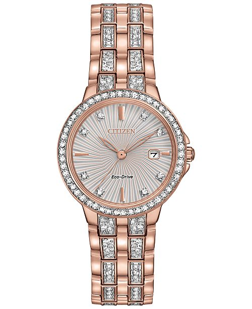 Citizen Women's Eco-Drive Crystal Accent Rose Gold-Tone Stainless Steel Bracelet Watch 28mm EW2348-56A