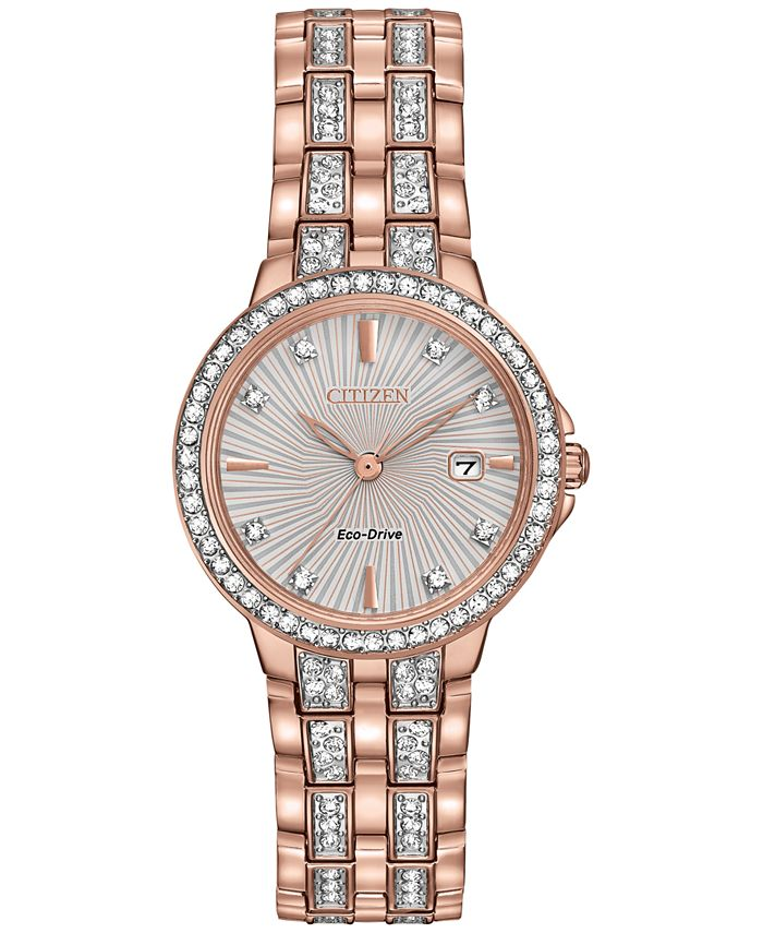 Citizen - Women's Eco-Drive Crystal Accent Rose Gold-Tone Stainless Steel Bracelet Watch 28mm EW2348-56A