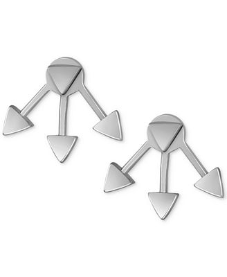 French Connection Silver-Tone Triangle Jacket Stud Earrings
