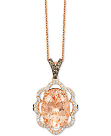 Le Vian Chocolatier® Peach Morganite (4-1/3 ct. t.w.) and Diamond (1/2 ct. t.w.) Pendant Necklace in 14k Rose Gold, Created for Macy's