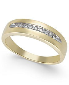 Men's Diamond Brushed Band in 10k Gold (1/10 ct. t.w.)