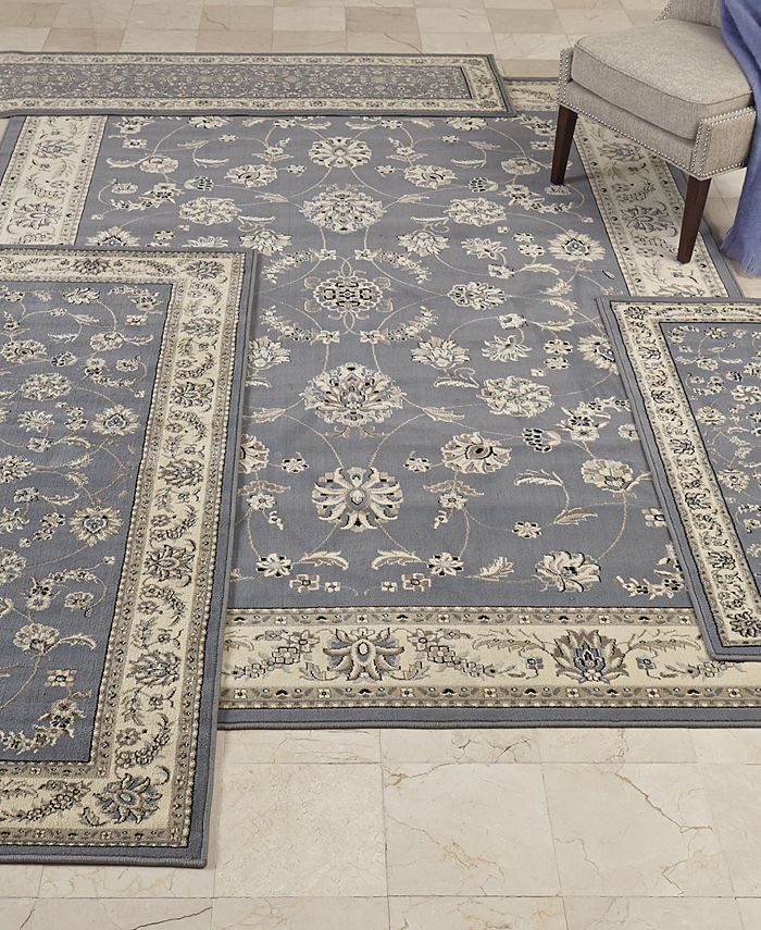 KM Home - Kenneth Mink Florence Collection 4-Pc. set Isfahan Grey/Blue Area Rugs