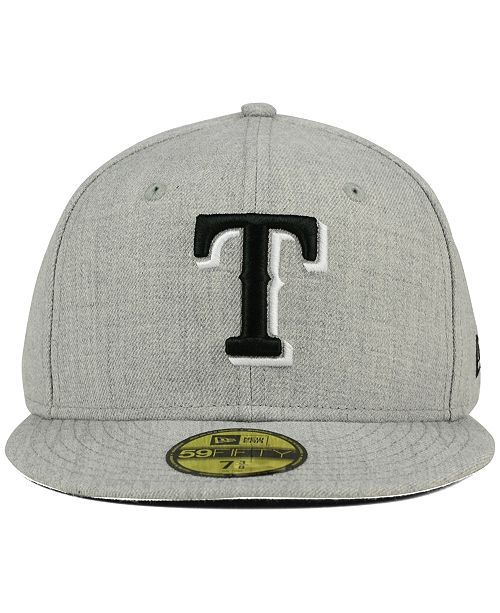 release date cafae 9605c ... New Era Texas Rangers Heather Black White 59FIFTY Fitted Cap ...