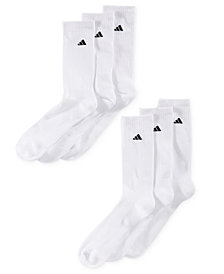 adidas Men's Cushioned Crew Extended Size Socks, 6-Pack