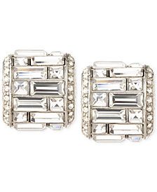 Carolee Silver-Tone Crystal Baguette Clip-On Earrings