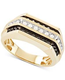 Men's Diamond Squared Three-Row Ring (1/2 ct. t.w.) in 10k Gold