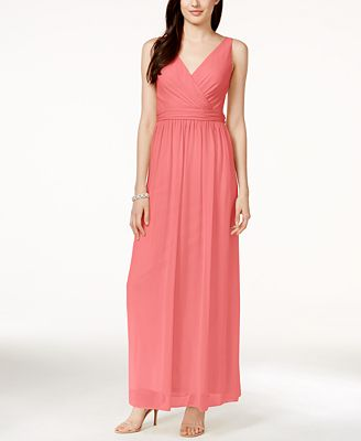 Adrianna By Adrianna Papell Chiffon Draped Sleeveless Gown - Dresses ...