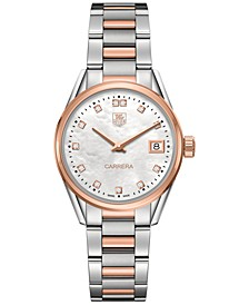Women's Swiss Carrera Diamond Accent 18k Two-Tone Stainless Steel Bracelet Watch 32mm