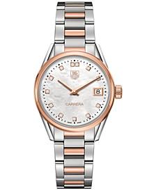 Women's Swiss Carrera Diamond Accent 18k Two-Tone Stainless Steel Bracelet Watch 32mm