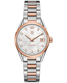 TAG Heuer Women's Swiss Carrera Diamond Accent 18k Two-Tone Stainless Steel Bracelet Watch 32mm