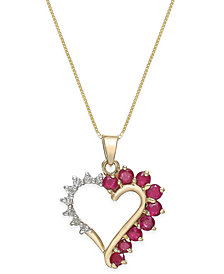Ruby (3/4 ct. t.w.) and Diamond Accent Heart Pendant Necklace in 14k Gold