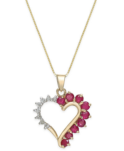 Ruby 34 ct tw and diamond accent heart pendant necklace in 14k tw and diamond accent heart pendant necklace in aloadofball