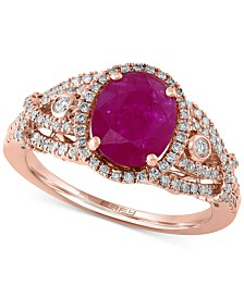 EFFY® Rosa Ruby (1-1/5 ct. t.w.) and Diamond (1/2 ct. t.w.) Ring in 14k Rose Gold