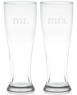 Mr. & Mrs. Pilsner Glasses, Set of 2
