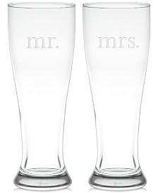 Mr. & Mrs. Pilsner Glasses, Set of 2