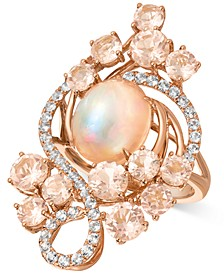 Crazy Collection® Neapolitan Opal (2-1/2 ct. t.w.), Peach Morganite (3-2/5 ct. t.w.), and Vanilla Topaz (7/10 ct. t.w.) Ring in 14k Rose Gold, Created for Macy's