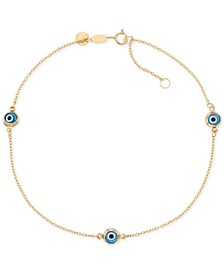 Beaded Evil Eye Anklet in 14k Gold