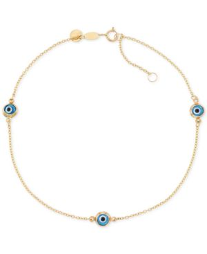 Beaded Evil Eye Anklet in 14k Gold -  Macy's