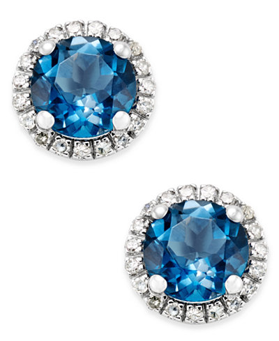 Blue Topaz (1-3/4 ct. t.w.) and Diamond (1/6 ct. t.w.) Stud Earrings in 14k White Gold