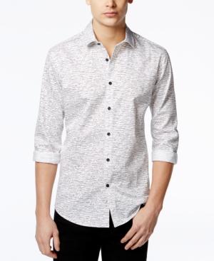 Alfani Men's Slim Craven Dash-Print Long-Sleeve Shirt, Created for Macy's