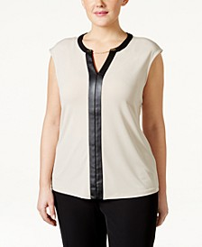Plus Size Faux Leather-Trim Cap-Sleeve Top
