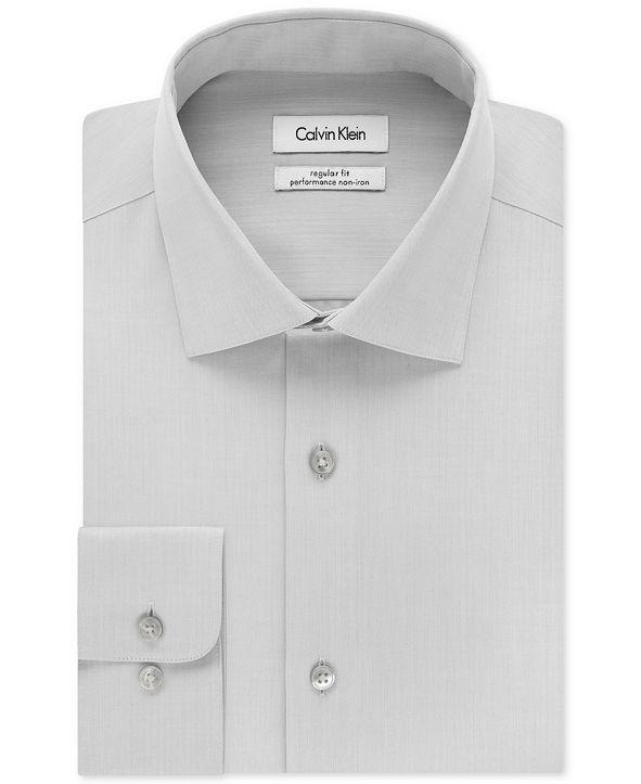 Calvin Klein Men's Classic-Fit Non-Iron Performance Herringbone Spread Collar Dress Shirt