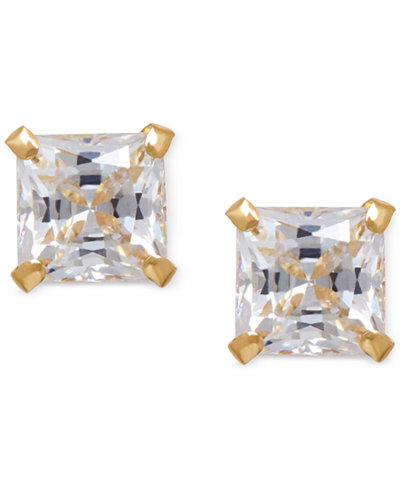 Cubic Zirconia Square Stud Earrings in 14k Gold