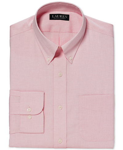 Lauren Ralph Lauren Classic-Fit Non-Iron Solid Pink Dress Shirt ...