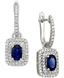 Sapphire (1 ct. t.w.) and Diamond (5/8 ct. t.w.) Hoop Drop Earrings in 14k White Gold