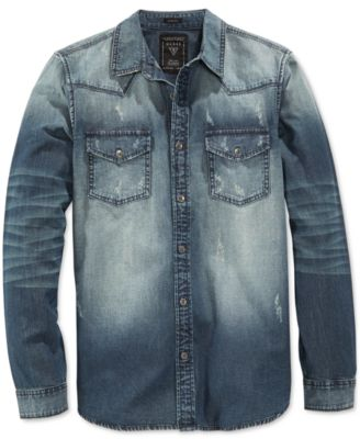 GUESS Men's Slim-Fit Western Long-Sleeve Storied Wash Denim Shirt ...