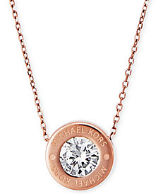 "Michael Kors 16"" Bezel Set Crystal Logo Pendant Necklace"