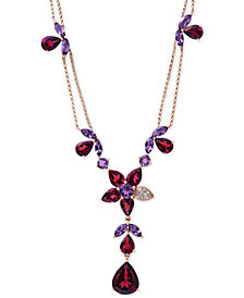 "Bordeaux by EFFY Garnet (13-1/5 ct. t.w.), Amethyst (3-1/2 ct. t.w.) and Diamond Accent Necklace in 14k Rose Gold, 16"" + 2"" Extender"