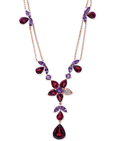 Bordeaux by EFFY Garnet (13-1/5 ct. t.w.), Amethyst (3-1/2 ct. t.w.) and Diamond Accent Necklace in 14k Rose Gold, 16