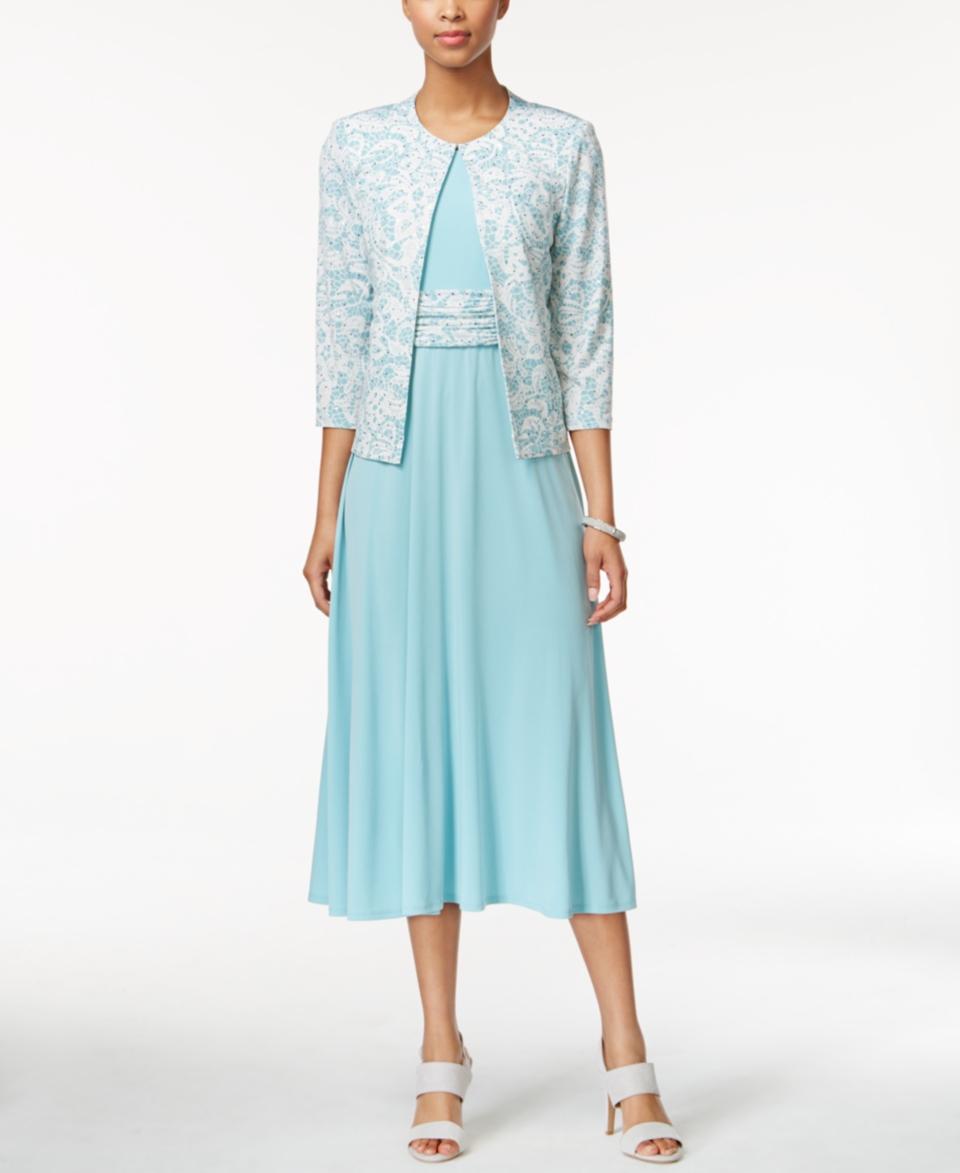 Jessica Howard Empire A Line Dress and Printed Jacket   Dresses