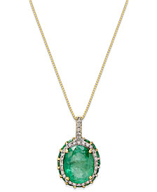 Emerald (3-3/8 ct. t.w.) and White Sapphire (1/6 ct. t.w.) Pendant Necklace in 10k Gold