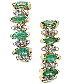 Emerald (3/4 ct. t.w.) and Diamond (1/4 ct. t.w.) Earrings in 14k Gold