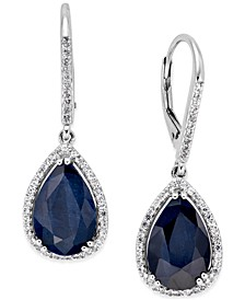 Black Sapphire (12 ct. t.w.) and White Topaz (1/2 ct. t.w.) Drop Earrings in Sterling Silver, Created for Macy's