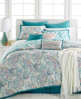 Kelly Ripa Home Fretwork Aqua 10 Pc Reversible King Comforter Set