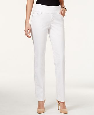 JAG Petite Peri Straight-Leg Pull-On White Wash Jeans