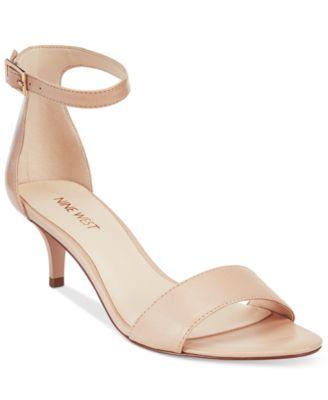 Nine West Leisa Two-Piece Kitten Heel Sandals Womens Shoes
