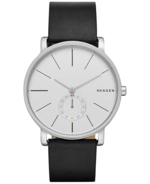 Skagen Men's Chronograph Hagen Black Leather Strap Watch 40m