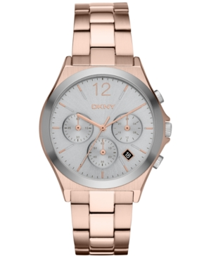 Dkny Women's Chronograph Parsons Rose Gold-Tone Stainless Steel Bracelet Watch 38mm NY2453