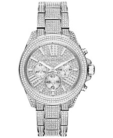 Michael Kors Women's Chronograph Wren Pavé Accent Stainless Steel Bracelet Watch 42mm MK6317