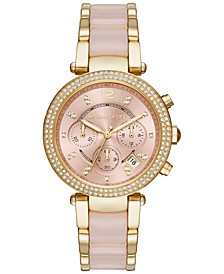 Women's Chronograph Parker Gold-Tone Stainless Steel and Blush Acetate Bracelet Watch 39mm MK6326