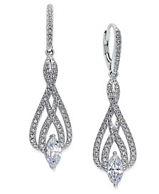 Danori Silver-Tone Marquise Crystal and Pavé Drop Earrings, Created for Macy's