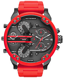 Diesel Men's Chronograph Mr. Daddy 2.0 Red Silicone Strap Watch 55x66mm DZ7370